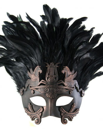 Antique eye mask with feathers bronze / black