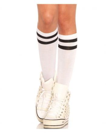 Athletic Ribbed Knee-knees White-black