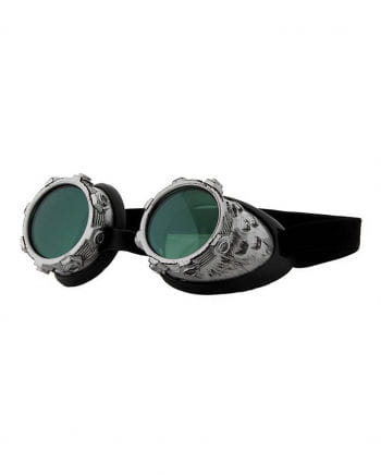 Steampunk sunglasses Aviator Silver / Green