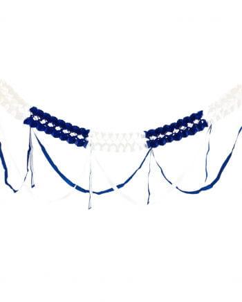 Girlande weiß-blau mit Fransen