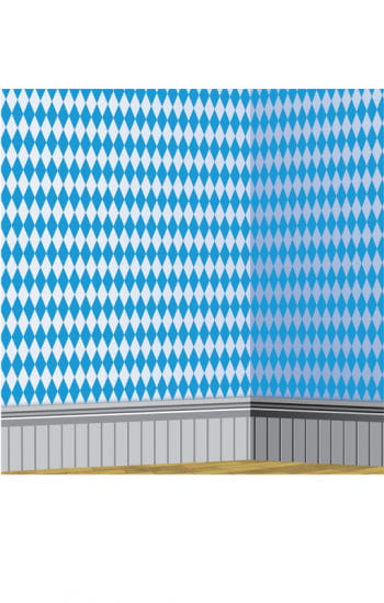 Bavarian diamond pattern wall foil white-blue