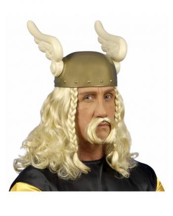 Blonde Gallier Perücke mit Bart