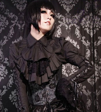 Lace blouse with jabot black
