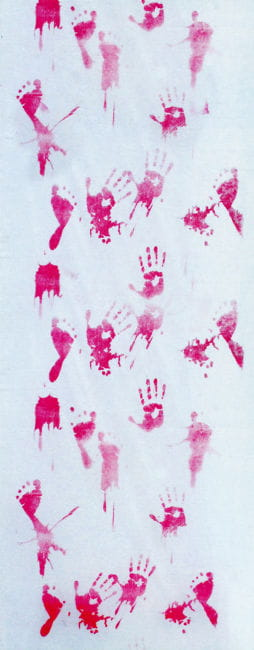 Fabric with bloody hand and footprints