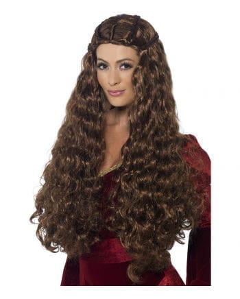 Medieval Long hair wig brown