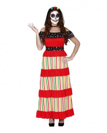 Buntes Dia de los Muertos Damen Kostüm