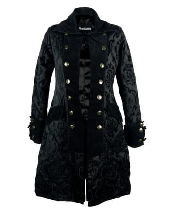 Damen piratenmantel schwarzer brokat gothic jacke horror - Schwarzer wintermantel damen ...
