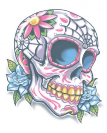 Day Of The Dead Glue Tattoo Sugar Skull