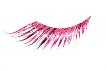 Real Hair Eyelashes Pink Glitter