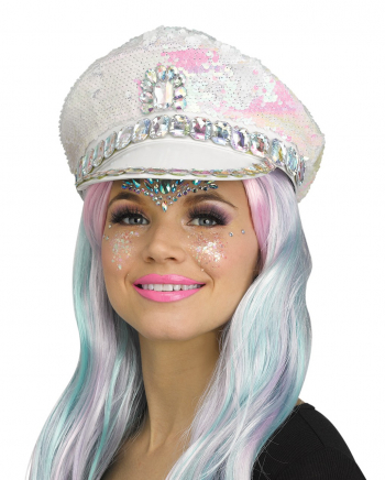 Festival Peaked Cap With Sequins White
