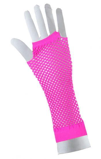 Fingerlose Netzhandschuhe Neonpink