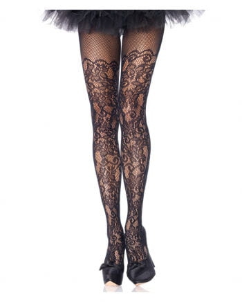 Mesh tights with floral lace