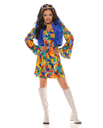 Flower Power Costume Dress With Fur Vest