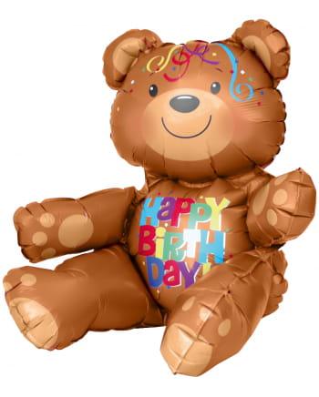 Folienballon sitzender Happy Birthday Bär