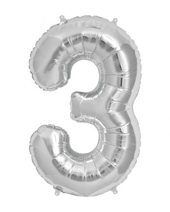 Foil Balloon Number 3 Silver