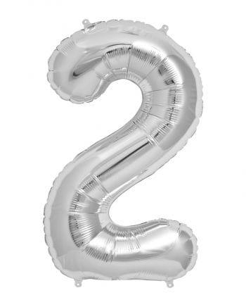 Folienballon Zahl 2 Silber