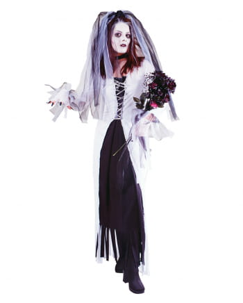 Ladies Ghost Bride Corpse Zombie Undead WitchHalloween Fancy Dress Hens Costume
