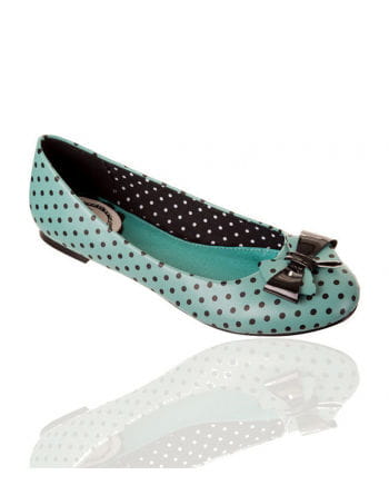 Spotted Bow Ballet Pumps mint / black