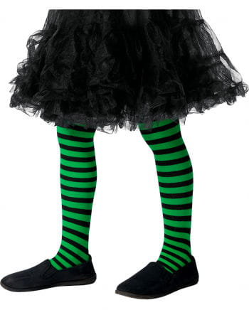 Striped children's tights green-black