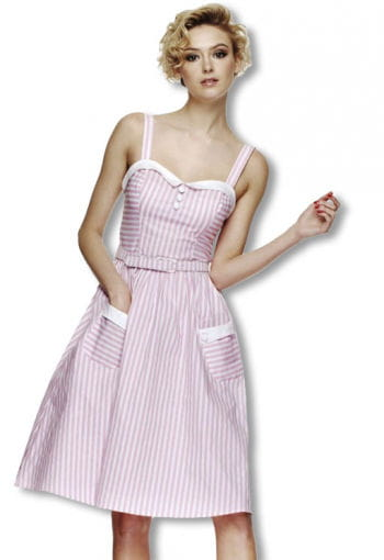 Striped Rockabilly dress pink and white