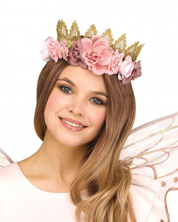 Glittering Fairy Crown With Flowers Rose Gold