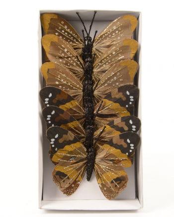 Glitter Butterfly 10 cm brown 6 St.