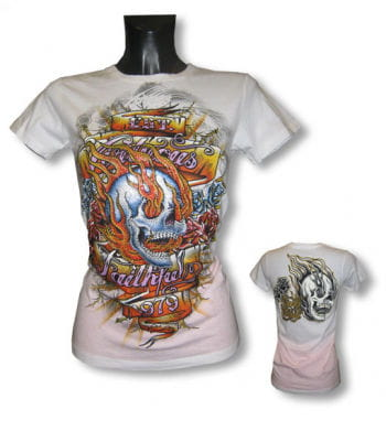 Skull and Flames Girls Shirt L / 40