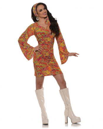 GoGo Hippie Mini Dress Orange Large