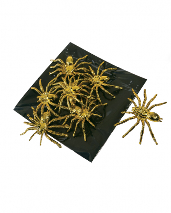 Goldene Deko Spinnen 8 Stück
