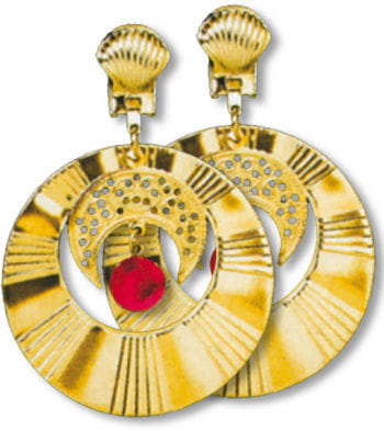Golden Earrings with Half Moon and Gem