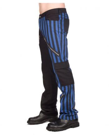 Punk jeans blue-black stripes