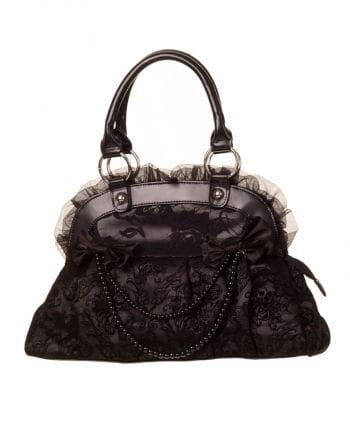 Handtasche mit Spitze schwarz