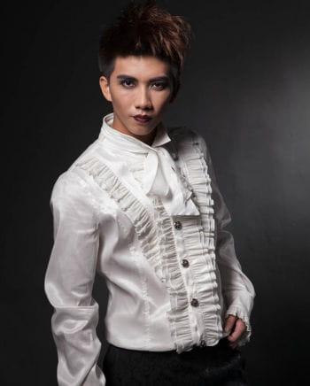 Gothic Herrenhemd mit Rüschen weiß
