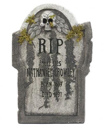 Halloween gravestone with skull & moss 55 cm
