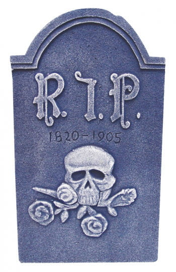 Grave stone with skull and roses