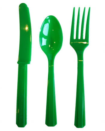 Plastic cutlery 24 pieces green