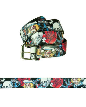 Belt with tattoo designs black-colored
