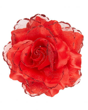 Haarspange rote Glitter-Rose