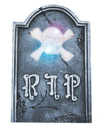 Halloween headstone with LED skull
