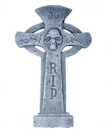 Halloween gravestone cross RIP & Skull round