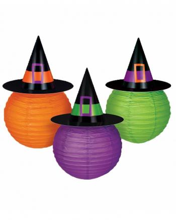 Halloween Lampions mit Hexenhut 3 St.