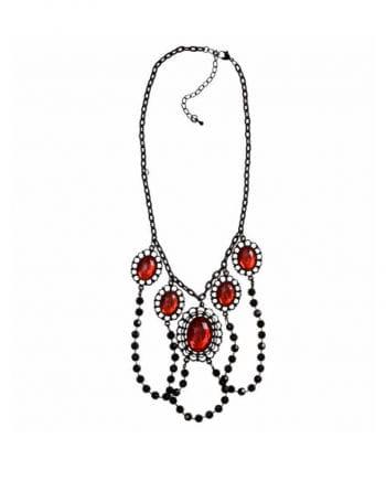 Halskette mit schwarzen Perlen und Schmucksteinen