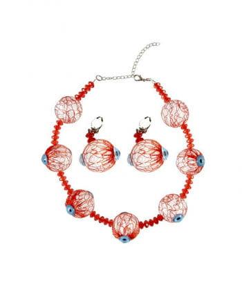 Necklace & Earrings with eyeballs