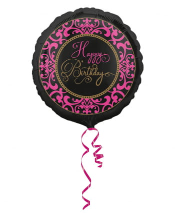Happy Birthday Folienballon schwarz-pink 43cm