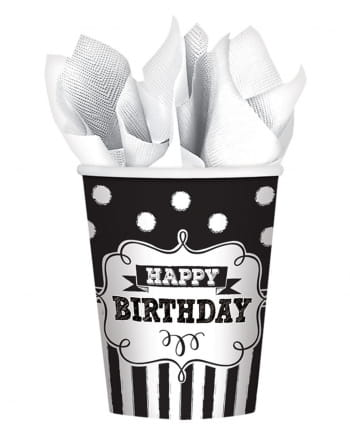 Happy Birthday Paper Cup Black And White 8 Pcs.