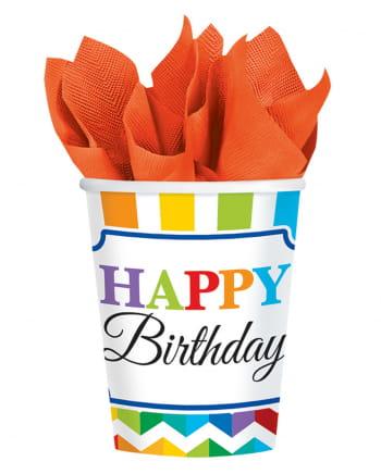 Happy Birthday Rainbow Pappbecher 8 St.