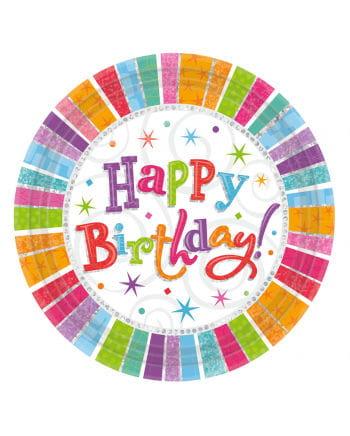 Happy Birthday Pappteller Sterne 8 St.
