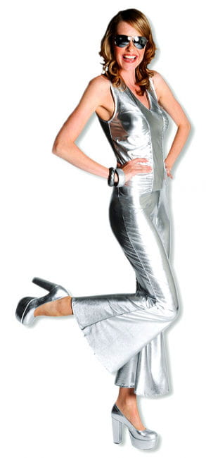 Hot silver catsuit