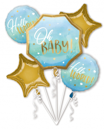 Hello World Folienballon Bouquet Blau