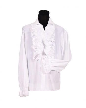 Men white ruffled shirt